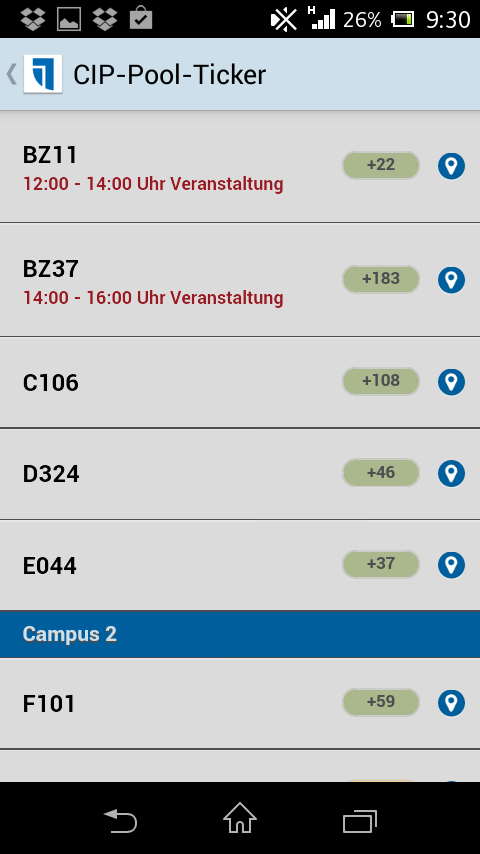CampusApp Universität Trier – Screenshot