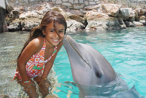 Curacao-dolphin-kiss - You'll make all kinds of new friends at Curacao's Dolphin Academy.