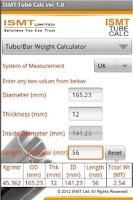Screenshot of ISMT Tube Calc