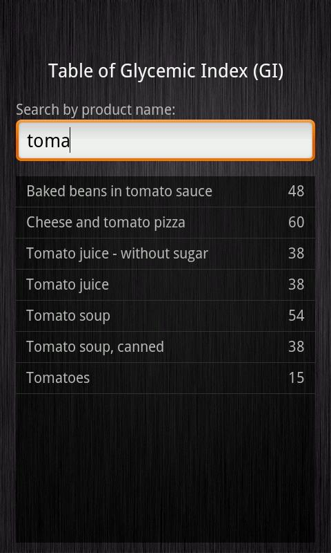 Glycemic Index - screenshot