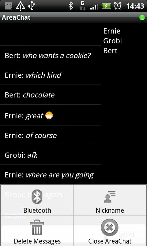 AreaChat (Bluetooth Chat Room)- screenshot