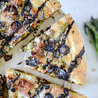 Springtime Mushroom, Asparagus + Prosciutto Pizza with Balsamic Glaze