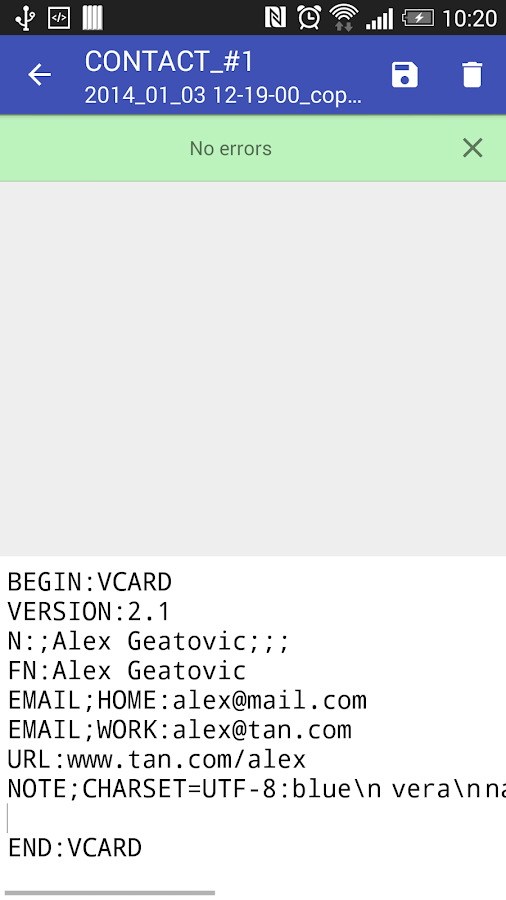 Contacts VCF - screenshot