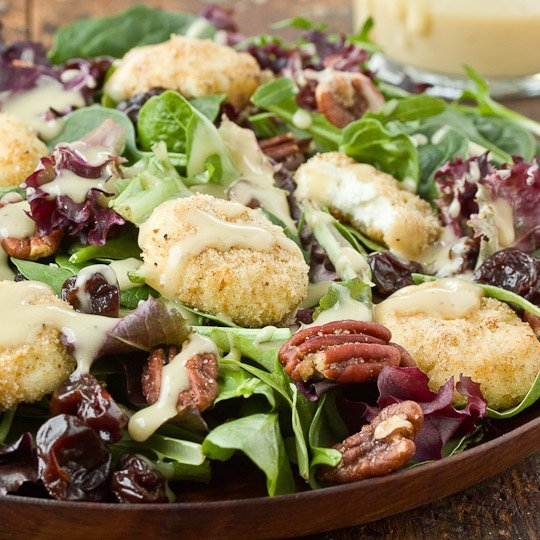 Baked Goat Cheese Salad with Walnut Vinaigrette Recipe
