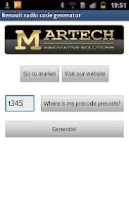 Renault Radio Code Generator - screenshot thumbnail