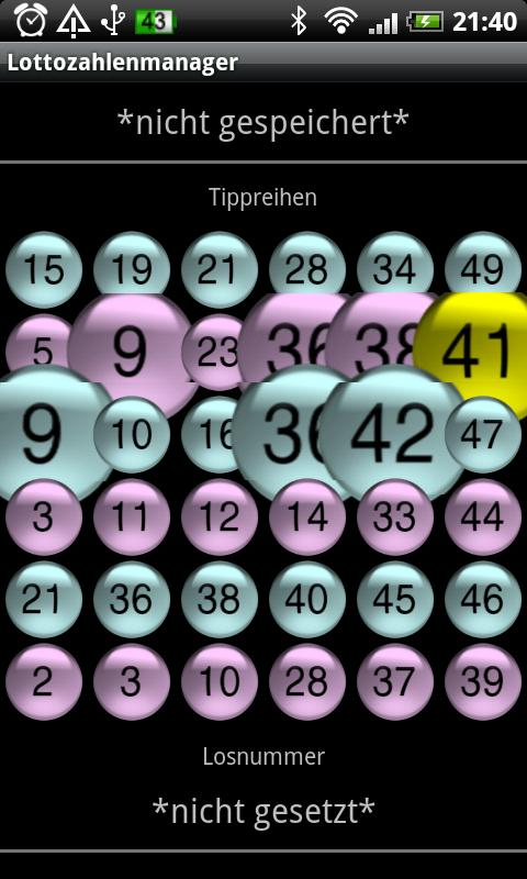 Lottery numbers manager- screenshot