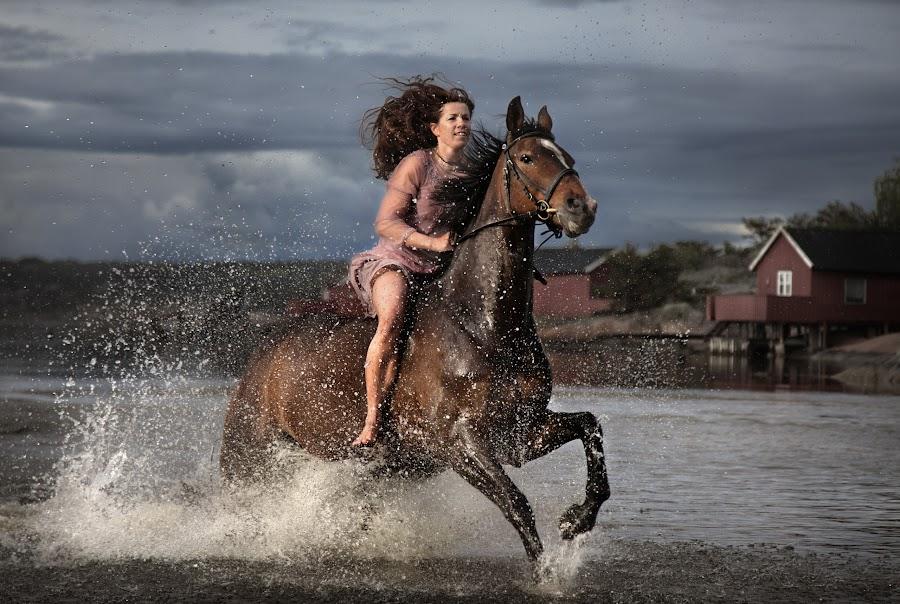Happy by Geir Andersen - Sports & Fitness Other Sports ( hvaler, water, ride, horses, østfold, asmaloy, ostfold, norway, fredrikstad, action hvaler, woman, asmaløy, skibstad sand, norge )