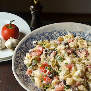 Roasted Garlic, Olive and Tomato Pasta Salad.