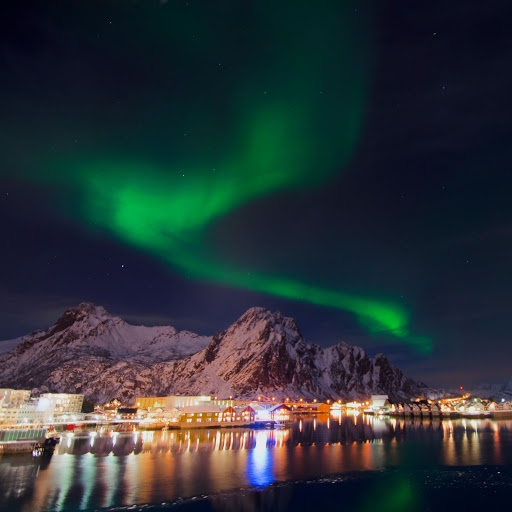 hurtigruten-northern-lights-3 - A dazzling display of the aurora borealis captured over Svolvaer near the coastline of Norway from the top deck of Hurtigruten's cruise ship Finnmarken.