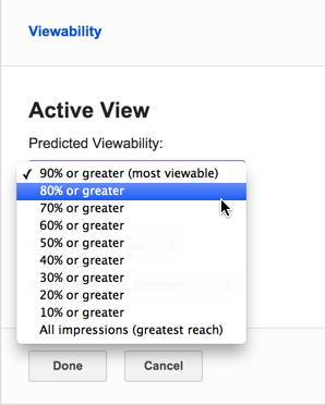Viewability targeting settings in Bid Manager