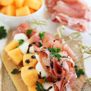 Melon, Proscuitto and Mozzarella Skewers.