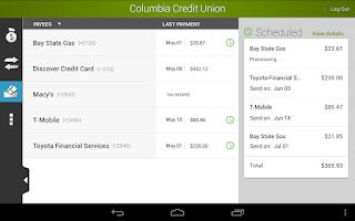 Screenshot of Columbia Credit Union