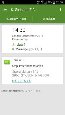 Voetbal kalender - screenshot