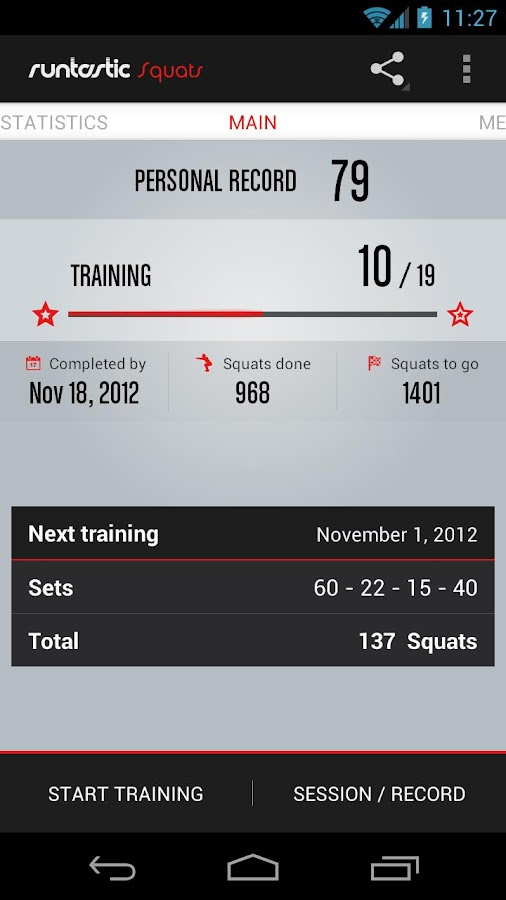 Runtastic Squats Workout PRO- screenshot