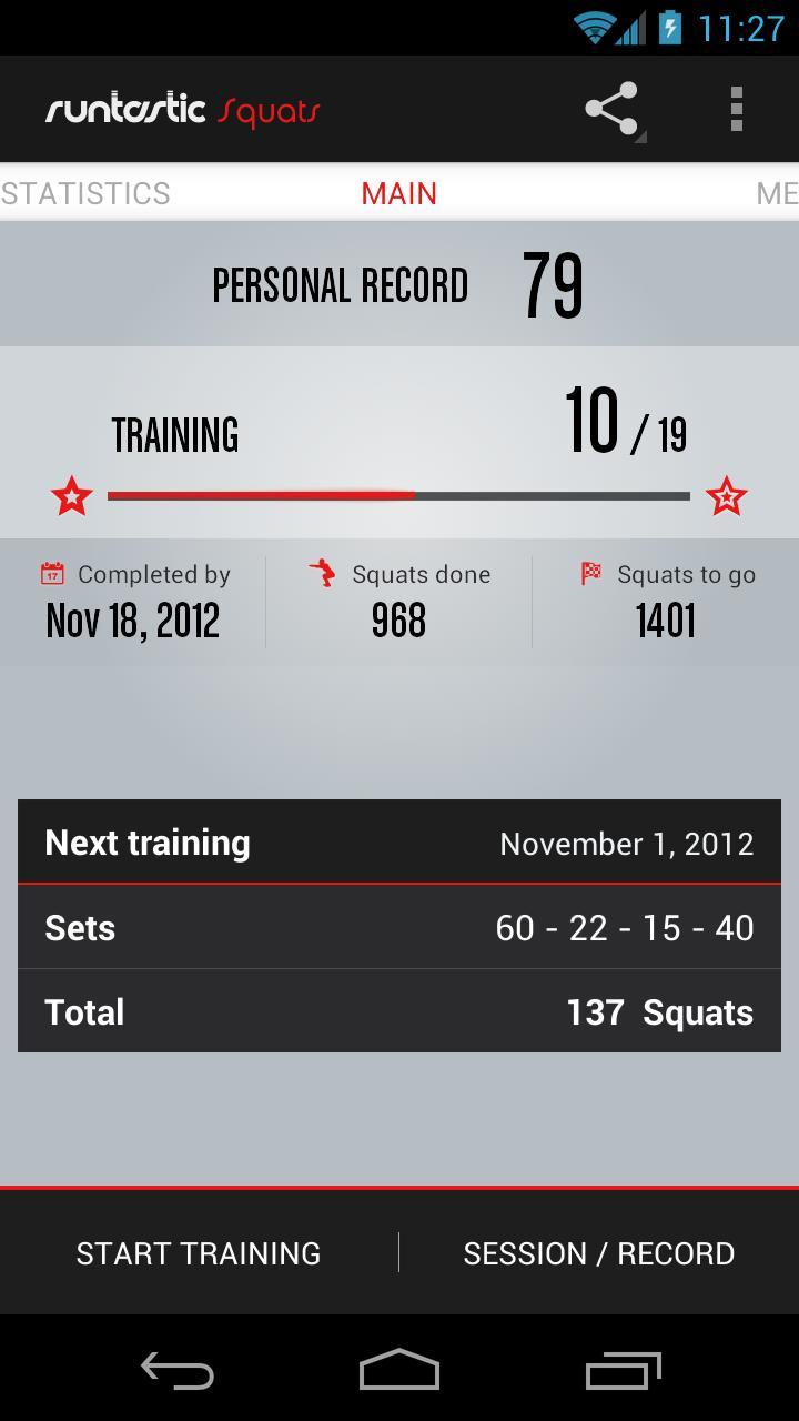 Runtastic Squats Workout PRO Screenshot