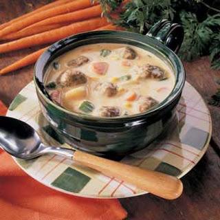 Cheesy Meatball Soup.