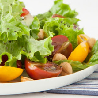 Salad with Roasted Garlic Dressing and Toasted Hazelnuts