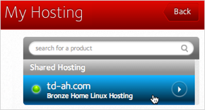 Domain button in My Hosting