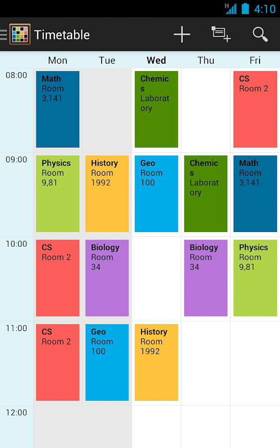 Timetable- screenshot