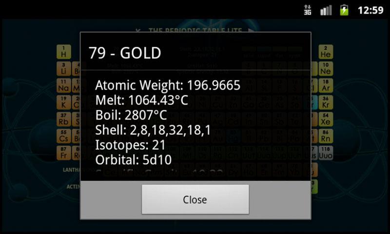 The Periodic Table Lite- screenshot