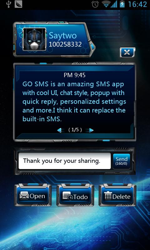 GO SMS Pro Space Popup Theme - screenshot