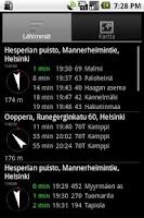 Screenshot of Helsinki timetables