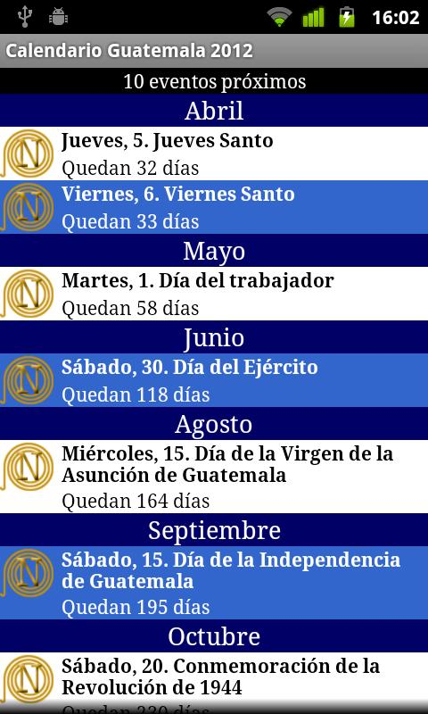 Calendario Feriados Guatemala- screenshot