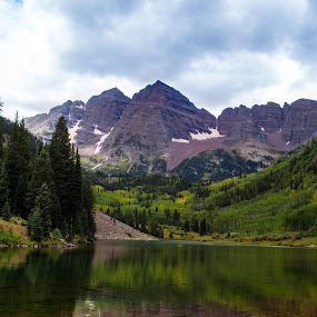 Maroon Lake by Derrick Leiting - Landscapes Mountains & Hills ( water, glacier, tranquil, reflection, mountain, peak, beautiful, snow, colorado, lake, aspen )