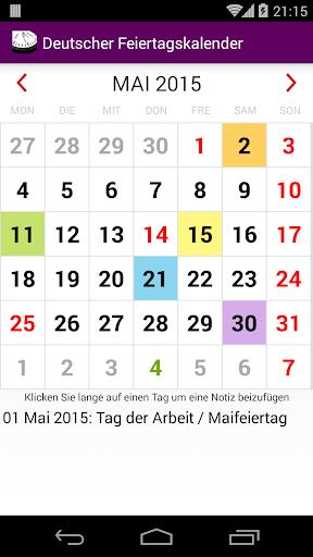 2015 Feiertagskalender NoAds