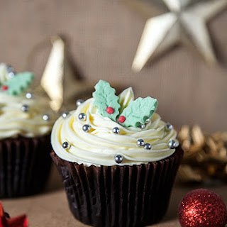 Spiced Christmas cupcakes with marzipan frosting