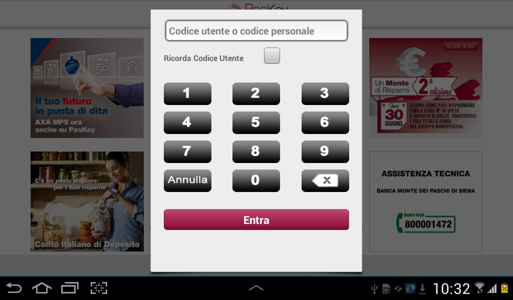 Banca MPS per Tablet - screenshot