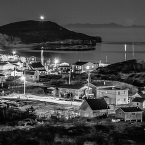 Burgeo, Newfoundland at Night by Eugene Ball - City,  Street & Park  Night ( peaceful, newfoundland, burgeo, black & white, ocean, town, seascape, landscape, atlantic )