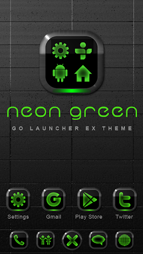 Neon Green GO Launcher Theme