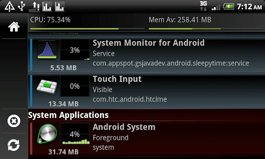 System Monitor Lite 4 Android - screenshot thumbnail