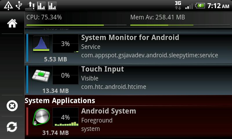 System Monitor Lite 4 Android- screenshot