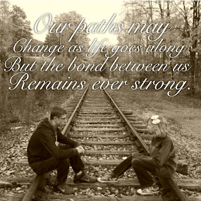 Sister and Brother Forever by Annette Long-Soller - Typography Captioned Photos ( sepia, railroad tracks, sitting, captioned photo, friendship, siblings )