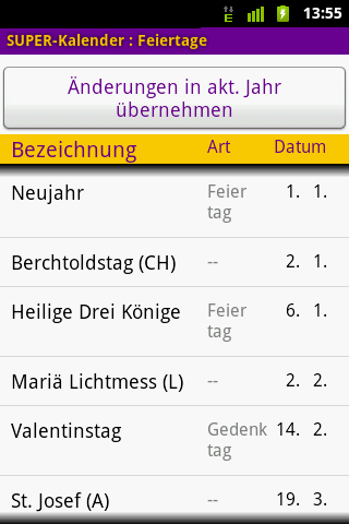 SUPER-Kalender - screenshot