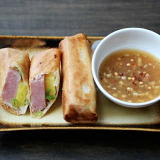 Spam and Pineapple Spring Rolls with Homemade Sweet and Sour Sauce