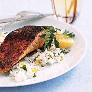 Blackened Salmon and Rice.
