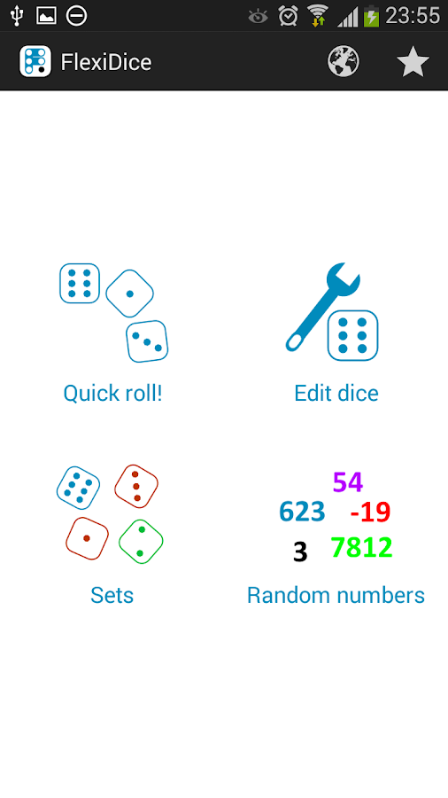 Flexi Dice, custom dice roller- screenshot