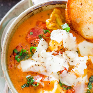 Creamy Fire Roasted Tomato and Basil Tortellini Soup.