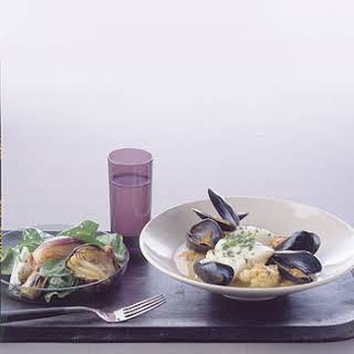 Steamed Cod with Cauliflower and Saffron.