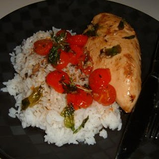 Chicken with Grape Tomatoes and Fried Basil.
