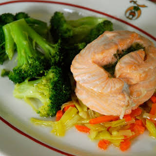 Steamed Salmon Mirepoix.