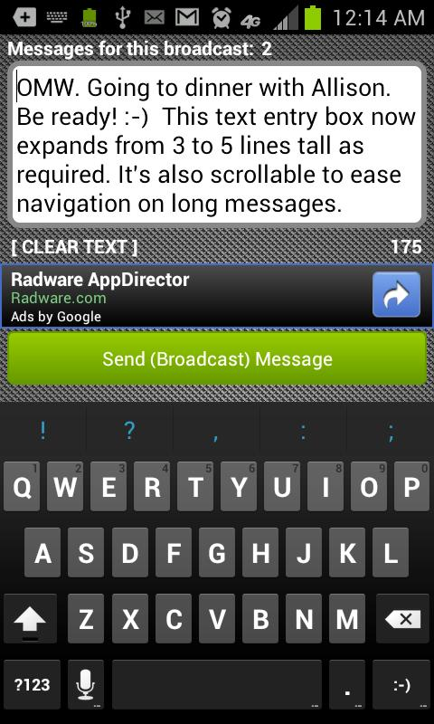 BroadcastSMS Lite - screenshot