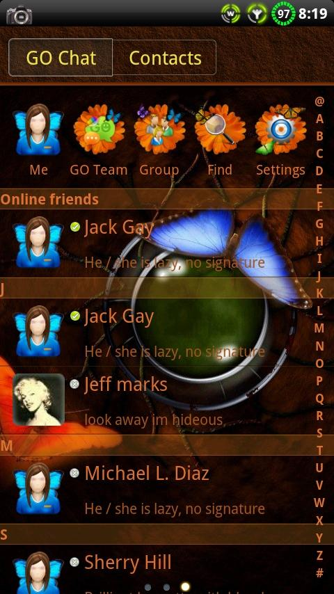 Butterfly GO SMS Theme - screenshot