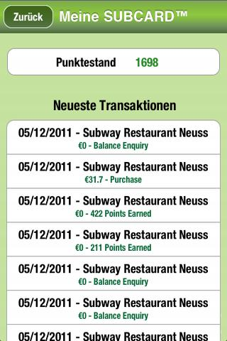 SUBWAY® SUBCARD™ Deutschland - screenshot