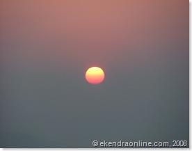 midday sun in Pokhara