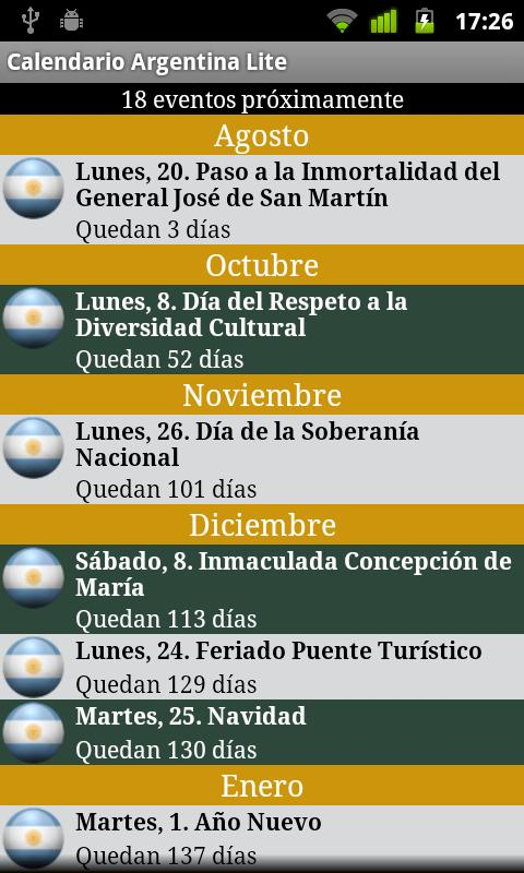 Calendario Feriados Argentina - screenshot