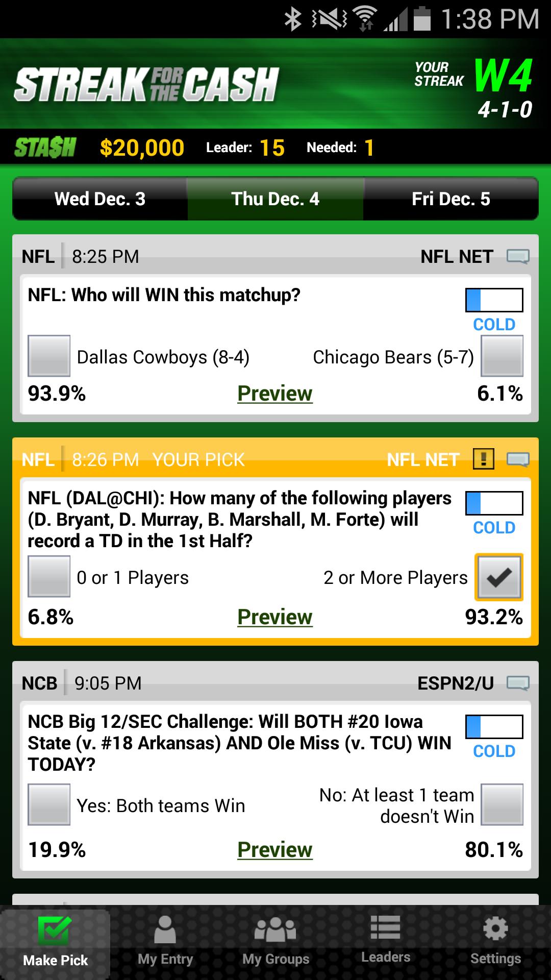 ESPN Streak For The Cash screenshot #2